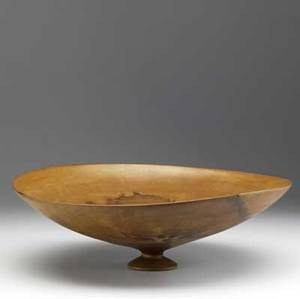 Ron kent shallow footed turned wood bowl with asymmetric rim 1994 provenance collection of kenzo takada signed ron kent 94 5 x 16 34