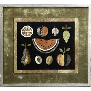 Richard blow  montici pietra dura plaque with an assortment of fruit in mixed hardstone mounted in silvered wood frame with velvet liner 1955 inlaid m lower right also marked made in italy 1955