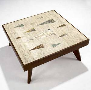 Richard blow  montici travertinetop coffee table with inlaid triangles in mixed hardstones on walnut frame inlaid m 13 x 28 12 sq