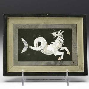 Richard blow  montici pietra dura picture of sea horse in mixed hardstones 1969 framed signed richard blow montici 69 and with montici cipher 4 x 5 12