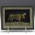 Richard blow  montici pietra dura picture of a bull in mixed hardstones 1969 framed signed richard blow montici 69 and with montici cipher 4 x 5 12