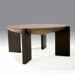 Wendell castle wendell castle collection coffee table with figured lacewood circular top over slab base signed 19 14 x 43 dia