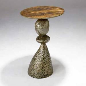 Wendell castle table with macassar ebony top on mottled green gold and silver pedestal base 1997 signed castle 97 30 x 19 12
