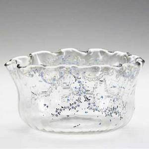 Emile galle clear glass scalloped bowl enamelpainted with dragonflies wild flowers and garland signed e galle a nancy 3 34 x 7 12