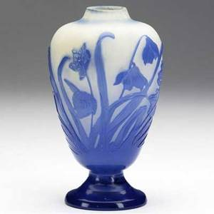 Emile galle cameo glass vase with blue bell flowers signed galle 6 34