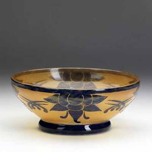 Le verre francais cameo glass bowl etched with stylized blossoms in mottled cobalt and orange etched le verre francais 3 12 x 8 34