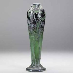 Daum tapering cameo glass vase with tall silver and green trees on an amethyst and emerald ground signed daum nancy 12 12 x 3 12