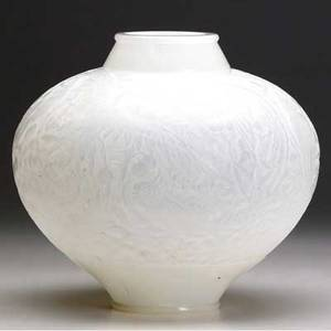 Lalique aras vase of doublecased opalescent glass stamped rlalique etched france 10 x 10