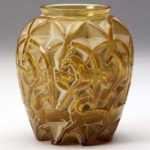 Lalique chamois vase of amber glass with white patina 1931 m p 455 no 1075 etched r lalique france 4 12 x 4