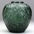 Lalique perruches vase in green glass c 1919 m p 410 no 876 signed r lalique france 10 x 9