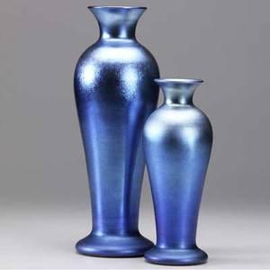 Steuben two blue aurene baluster vases unmarked 9 14 x 13