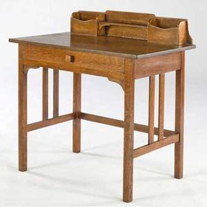 Arts  crafts postcard desk with single drawer and gallery top unmarked 34 x 32 x 19 34