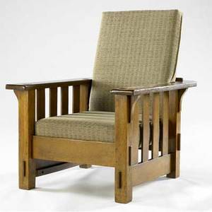 Jm young morris chair with slats to the floor and flat arms new dropin seat unmarked 38 12 x 31 12 x 36 12