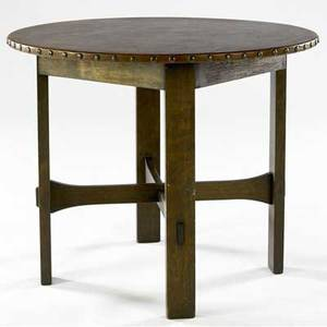 Stickley bros leathertop lamp table no 132 with circular top and trumpetshaped crossstretchers metal tag 30 x 36 dia