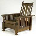 Paine furniture transitional morris chair with eight slats under each arm metal tag 41 x 32 x 39 12