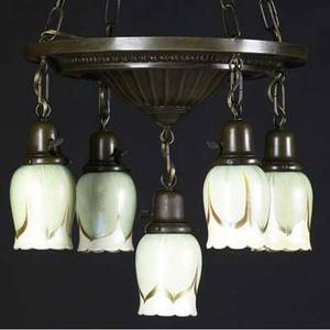 Steuben hanging arts  crafts patinated metal fixture with five steuben art glass shades with green and gold pulled feather decoration some shades stamped shades 4 34 x 3 12 total 35 x 16