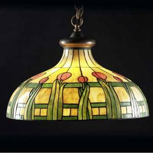 Bradley  hubbard large leaded glass chandelier with pink tulips and green foliage on an amber ground over a six socket fixture complete with copper caps and chain unmarked total with cap 43 x 26