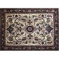 Agra serape roomsize rug with cream field midnight flower head and leaf borders around dense floral and leafmotif panel in pale shades 93 x 12