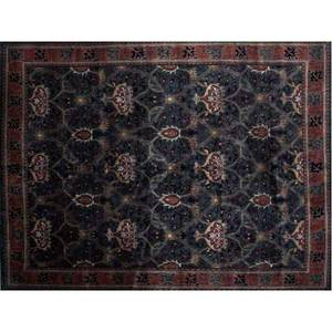 William morrisstyle roomsized rug with allover floral patttern on an emerald field with midnight blue borders and cinnabar details 92 x 12