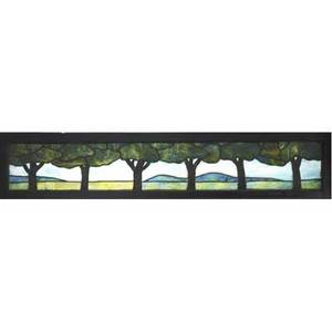 Arts  crafts large stained glass window with stylized trees in a landscape mounted in original window frame 6 14 x 81