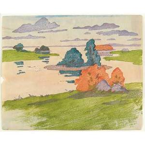 Arthur wesley dow american 18571922 color woodblock print flood tide matted and framed from the estate of the artist hirschl  adler gallery new york unsigned 6 12 x 8