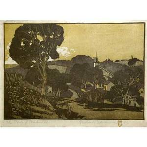 Gustave baumann american 18811971 color woodblock print the town of nashville signed and numbered in pencil image 9 x 13 12