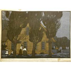 Gustave baumann american 18811971 color woodblock print town gossips signed and numbered in pencil image 9 x 13 12