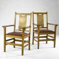 Gustav stickley pair of hback armchairs no 308 with dropin seats upholstered in tapestry branded marks 40 x 25 x 21