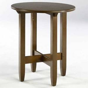 Limbert lamp table no 190 with circular top and tapered legs joined by cross stretchers branded mark 26 12 x 22 dia