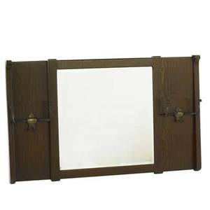 Arts  crafts hall mirror with double hooks and beveled mirror unmarked 25 12 x 43 14