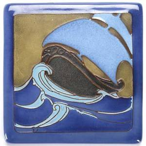 California faience square tile decorated in cuenca with a tall ship on waves stamped california faience 5 34 sq