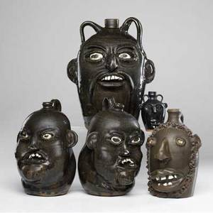 Hewell etc five folk art face jugs two by matthew hewell 12 one by chester hewell 13 34 seagrove by auman with beard 10 12 and oakland miniature 5 all signed