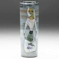 Pillin cylindrical vase painted with a lady with net of fish signed pillin 7 14 x 2 12
