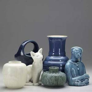 Rookwood six production items including cat and pierrot figurines all marked tallest 8 34