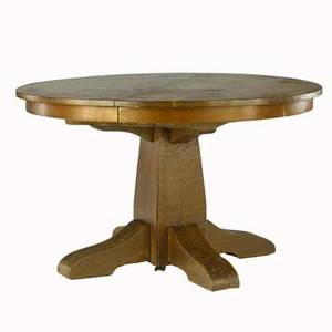 Gustav stickley split pedestal dining table with circular top complete with four leaves red decal 29 x 48 dia