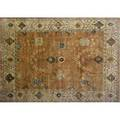 William morris style roomsize rug with allover floral patttern in pale blue taupe and cinnabar on a sand field 83 x 9 10