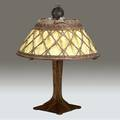 Gustav stickley table lamp no 504 with four riveted corbels on a square base original threesocket fixture topped with hammered copper ball als ik kan stamp 22 x 18