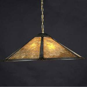 Lillian palmer attr copper and mica flaring chandelier with three sockets unmarked fixture only 14 x 30