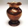 Albert berry hammered copper vase with brass detail around base stamped berrys craftshop their mark seattle 7 x 5
