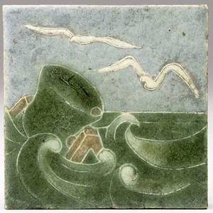 Grueby tile decorated in cuenca with seagulls and buoy artists initials 4 sq