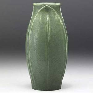 Grueby vase with three fullheight tooled and applied leaves covered in fine frothy matte green glaze grueby faience medallion stamped uae 136 7 34 x 4