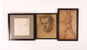 Group of Three Assorted Figural Sketches