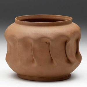 George ohr bisquefired vessel with folded middle signed george ohr 4 x 5