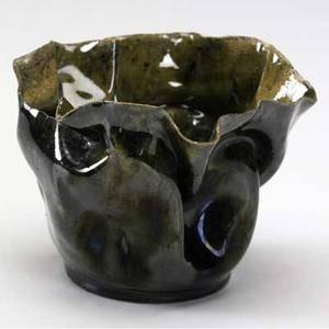 George ohr small crumpled vessel covered in green and amber mottled glaze stamped ge ohr biloxi miss 2 34 x 4