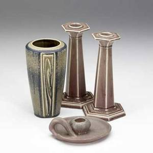 Rookwood four production items pair of faceted tall candlesticks vase with decorated panels and waterlily chamberstick all marked vase 6 34