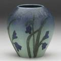 Rookwood decorated mat vase painted by elizabeth lincoln and louise abel with bluebells on a blended blue and green ground 1921 flame markxxi2100both artists ciphers 4 34 x 4 14