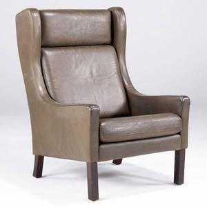 Borge mogensen lounge chair upholstered in saddle leather on solid teak legs 40 14 x 26 14 x 27 14