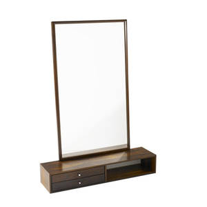 Danish modern rosewood wallhanging console with brushed steel pulls with wallhanging mirror console stamped with danish control stamp console 6 x 35 x 9 mirror 24 12 x 42