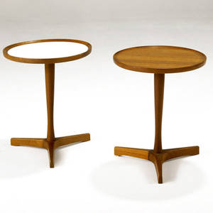 Anderson two sculpted teak side tables one with wood top and one with architectural laminate top both with branded mark 17 12 x 14 14 dia
