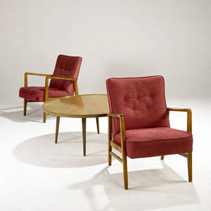 Ab jo carlssons sweden pair of birch lounge chairs on sculpted frames with raspberry wool upholstery and coffee table with bookmatched walnut top table marked with carlssons metal tag chairs 31
